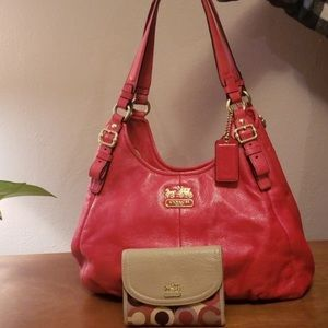 Red coach purse with coach wallet Both are used bu